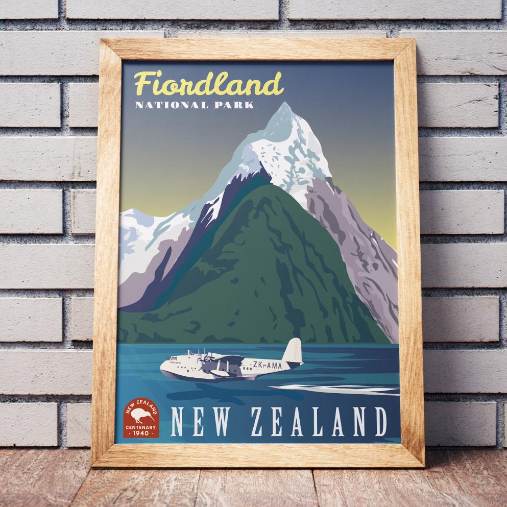 Fiordland National Park Retro poster